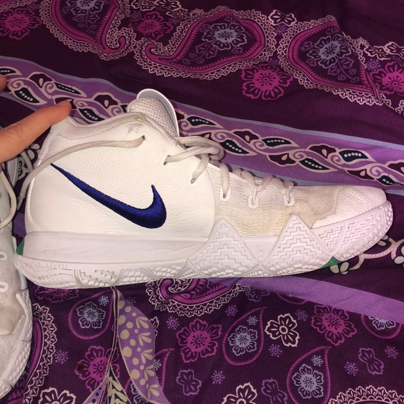 check out dda57 ae5e5 Kyrie 4's white, green, and blue